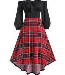 off shoulder frilled plaid high low jersey dress