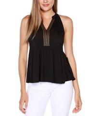 belldini black label embellished sleeveless peplum top