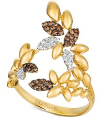 le vian chocolatier diamond leaf statement ring (1/5 ct. t.w.) in 14k gold