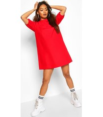 cotton high neck puff sleeve shift dress, red