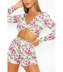 floral knot top & paper bag shorts co-ord set, white