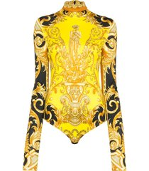 versace baroque print fitted bodysuit - yellow