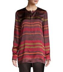 lafayette 148 new york women's autumn stripe tunic blouse - rust multi - size s