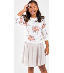 franki floral crew neck sweatshirt for girls - white