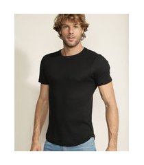 camiseta masculina slim básica manga curta gola careca preta