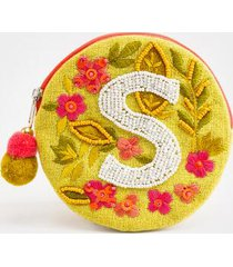 s round initial coin pouch - yellow