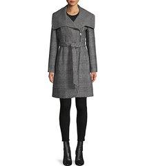glen plaid belted coat
