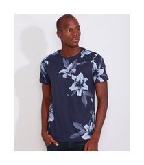 camiseta masculina slim estampada manga curta floral gola careca azul marinho