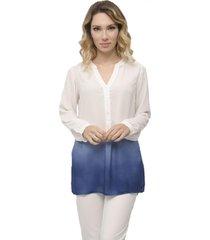 blusa miss joy casual branco/azul