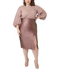 maree pour toi plus size metallic faux-leather midi skirt