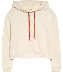 women's madewell rainbow drawstring hoodie sweatshirt, size xx-small - ivory