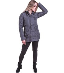 jaqueta sobretudo acolchoado frio inverno carbella cinza - kanui