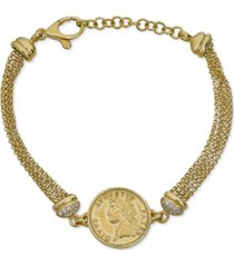 diamond coin multi-layer chain bracelet (1/6 ct. t.w.) in 14k gold-plated sterling silver