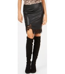 bar iii faux-leather skirt, created for macy's