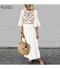zanzea de las nuevas mujeres de boho floral de la playa de vacaciones en long señoras vestido maxi vestidos vestido de tirantes -blanco