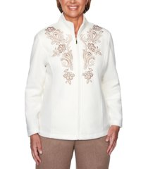 alfred dunner petite first frost embroidered fleece jacket