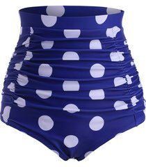 retro polka dot ruched high waisted bikini bottom