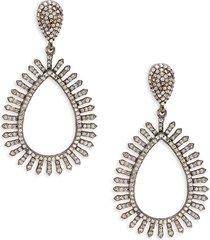 banji jewelry women's rhodium-plated sterling silver & diamond cutout drop earrings