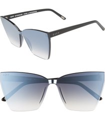 women's diff goldie 65mm oversize cat eye sunglasses - black/ silver smoke