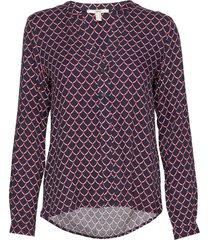 blouses woven blus långärmad multi/mönstrad esprit casual