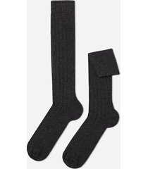 calzedonia men's ribbed wool and cashmere long socks man grey size 44-45