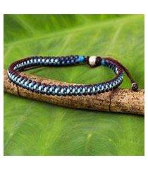 silver accent braided bracelet, 'bringing friendship in blue' (thailand)
