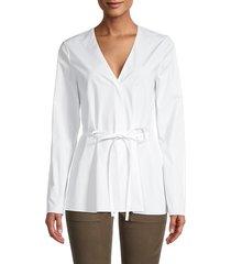 theory women's v-neck tie-waist top - white - size xs
