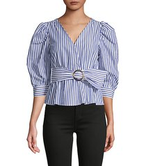 striped puff-sleeve belted top