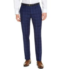 dkny men's slim-fit stretch blue plaid suit pants