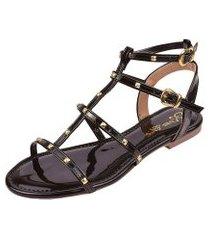 sandália rasteira rosa chic calçados tachas gladiadora spike preta.