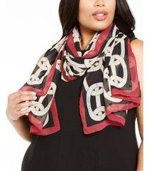 calvin klein chain-print chiffon scarf