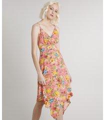 vestido feminino midi assimétrico estampado floral coral