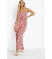 geruite geplooide bloemenprint culotte jumpsuit, red