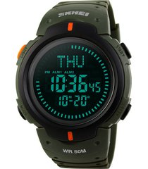 reloj digital deportivo brujula 5m skmei 1231 verde militar