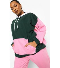 plus oversized colour block hoodie, bottle green