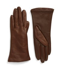 women's nordstrom cashmere lined leather touchscreen gloves, size 6 - brown