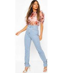 petite floral organza puff sleeve t-shirt, pink