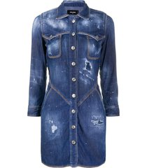 dsquared2 distressed denim shirt dress - blue