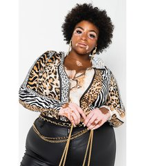 akira plus mood swings long sleeve hoodie animal print bodysuit
