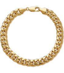 italian gold men's cuban link bracelet in 10k gold