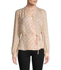 l'agence women's dot-print silk wrap top - petal ivory - size l
