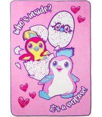 hatchimals pink & blue bed blankets (twin) 62 x 90