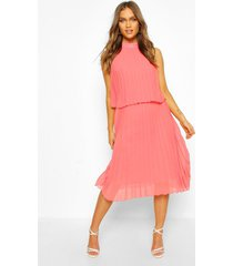 occasion pleated double layer midi dress, apricot