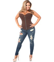 daisy corsets top drawer brown  cotton steel boned corset with zipper