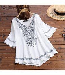 zanzea camisa de dobladillo asimétrico de manga corta para mujer camiseta blusa étnica tallas grandes -blanco