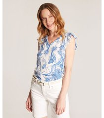blusa blanca estampada