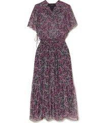 odelia tiered floral-print silk-chiffon midi dress