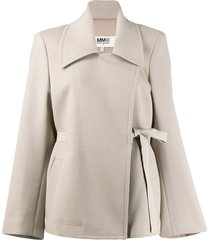 mm6 maison margiela oversized belted blazer - neutrals