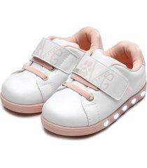 tênis pampili menina sneaker luz branco/rosa - tricae