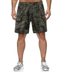 hombres summer camouflage pocket casual drawstring loose shorts